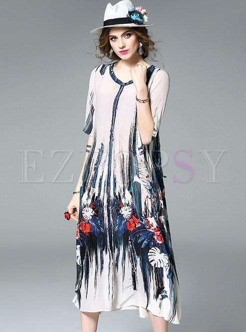 Vintage Floral Print Half Sleeve Shift Dress  82c91942b1a43