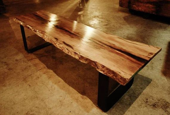 Live Edge Wood Slab Bench  Spalted Sycamore by stevefcreative, $1400.00