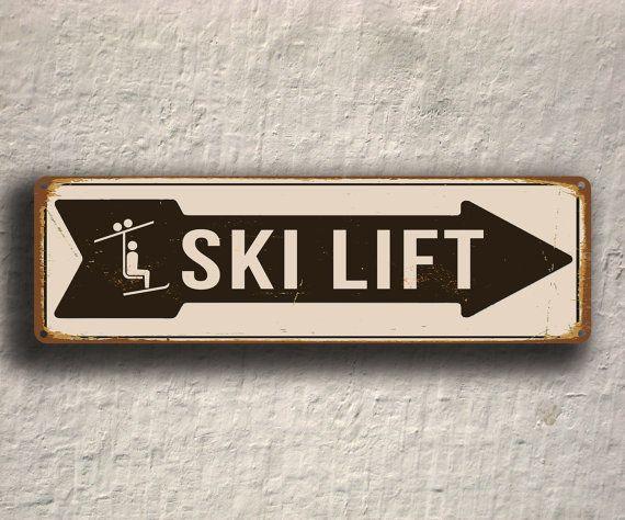 SKI LIFT SIGN, Ski Lift Signs, Vintage Style Ski Lift Sign, Ski Signs, Skier Signs, Ski Decor, Directional Ski Lift Sign, Ski Art, Ski Decor