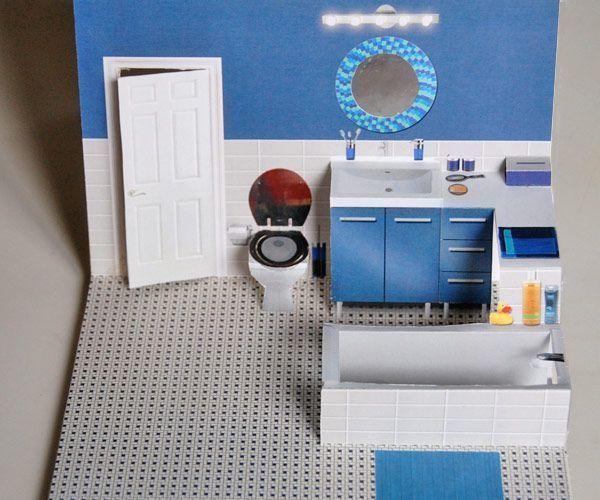 #fitnessstudio Tageskarte Badezimmer für Pop-up-Papierhaus - #fitnessstudio ...... -  #Fitnessstudio...