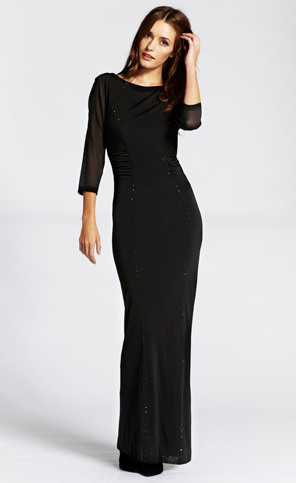 Our Black Stud Bodycon maxi is perfect for a Morticia Addams costume this year. Pair with pale make-up, grey eyeshadow, red lips and a black wig to perfect the look https://www.google.co.uk/search?q=morticia+addams&oq=mortici&aqs=chrome.1.69i57j0l5.3013j0j7&sourceid=chrome&espv=210&es_sm=93&ie=UTF-8