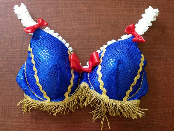 This bra is Snow White themed and was made by UCF's Leadership Development Week Committee. It is size 44 D.