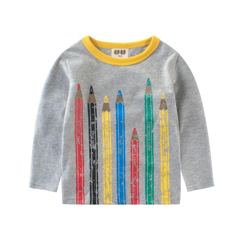 704c80806c Children T-shirt Pencil Print Kids Clothes Baby Boys T Shirt Long-sleeved  Girls