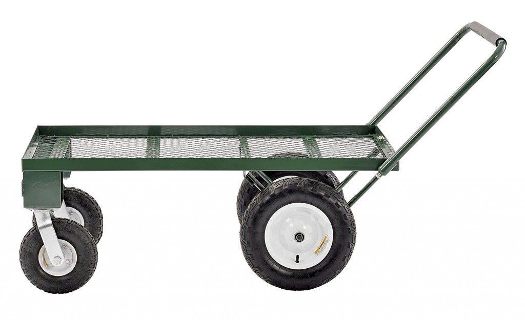 Utility Cart With Pneumatic Wheels, Steel Utility Flat Garden Wagon