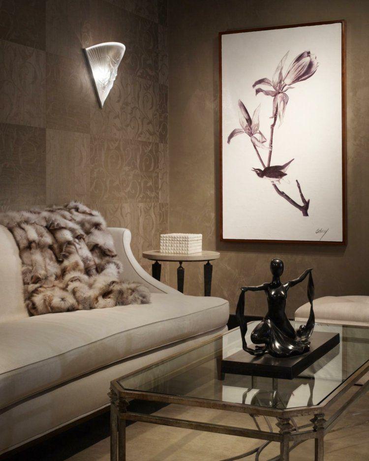 Braune Tapete mit zarten Ornamenten Einrichten und Wohnen - braune wandgestaltung im wohnzimmer ideen