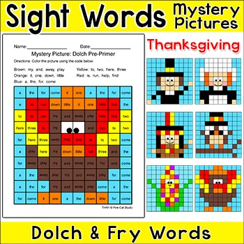 Thanksgiving Activities Color by Sight Words: Turkey, Pilgrims ...