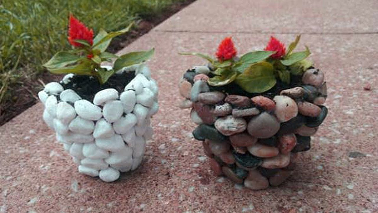 Beautiful Stone Concrete Flower Pots Ideas River Rock Planters Stone Planters Diy River Rock Diy Planters