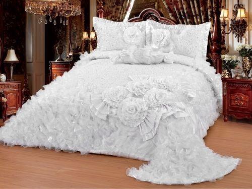 Luxuriöser Bettüberwurf Handarbeit, Satin Tagesdecke, Bestickt