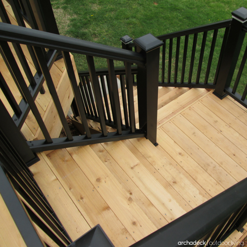 Safety and style wise the stair railings for a two story deck