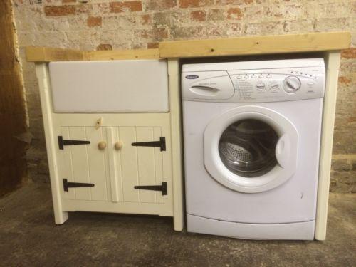 Pine Freestanding Kitchen Handmade Belfast Butler Sink Unit With Appliance  Gap