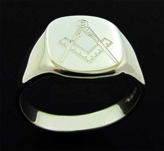 34dd6f02e37e3 Silver Masonic Chapter Ring Men's Freemason Signet Ring - Masonic ...