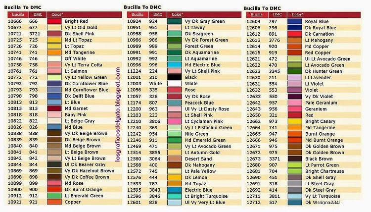 Tabela Converso Bucilla Dmc 4 Cross Stitch Conversion Charts