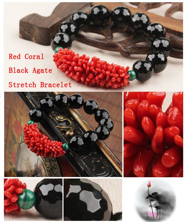 Black agate and coral stretch bracelet