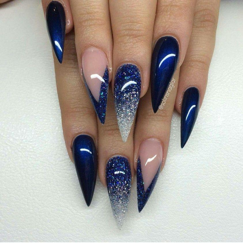Uńas Azules Con Glitter120 Uñas Azules Uñas Estileto Y