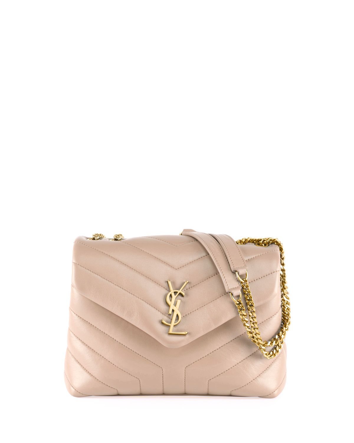 1598b3b840e Loulou Monogram YSL Small V-Flap Chain Shoulder Bag - Lt. Bronze Hardware