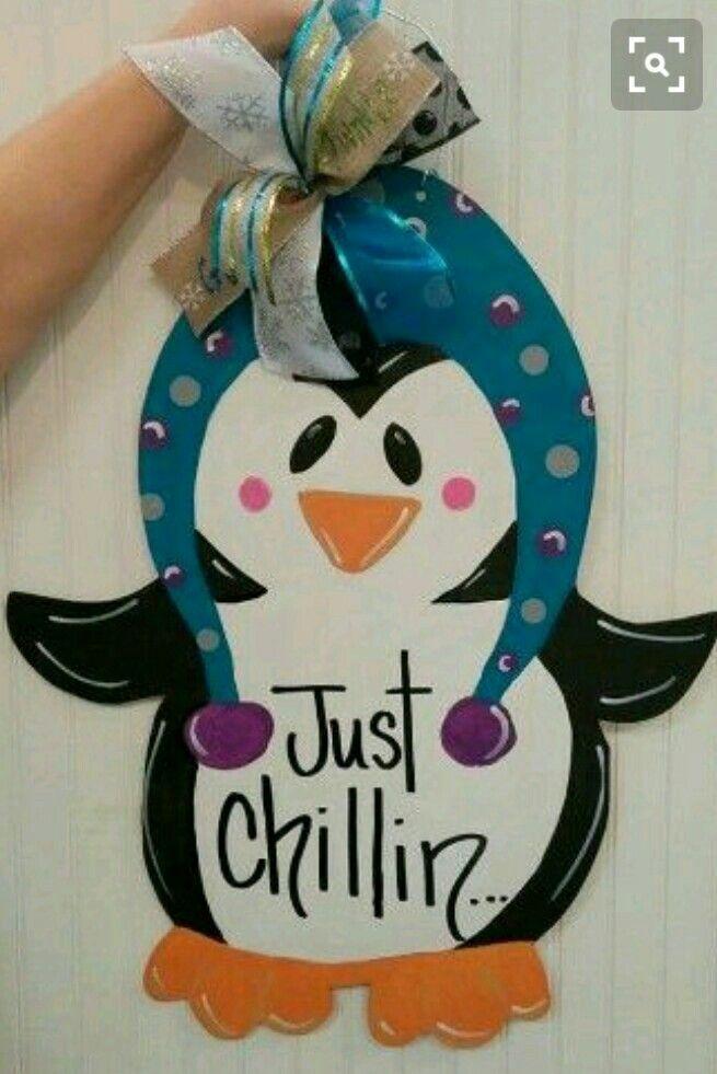 wooden door hanger penguin winter door hanger craft night out