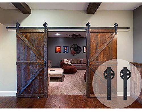 Amazon Com Winsoon 11ft Wood Double Sliding Barn Door Hardware Basic Black Big Spoke W Double Sliding Barn Doors Barn Door Hardware Sliding Barn Door Hardware