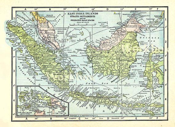 Vintage Indonesia map  1920s  East India Islands and Malaya, Sumatra