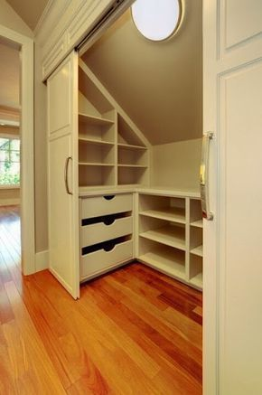 Photo of Small closet for a room with slanted ceilings. | Attic Bathroom Ideas Slanted Ceiling | Indus…