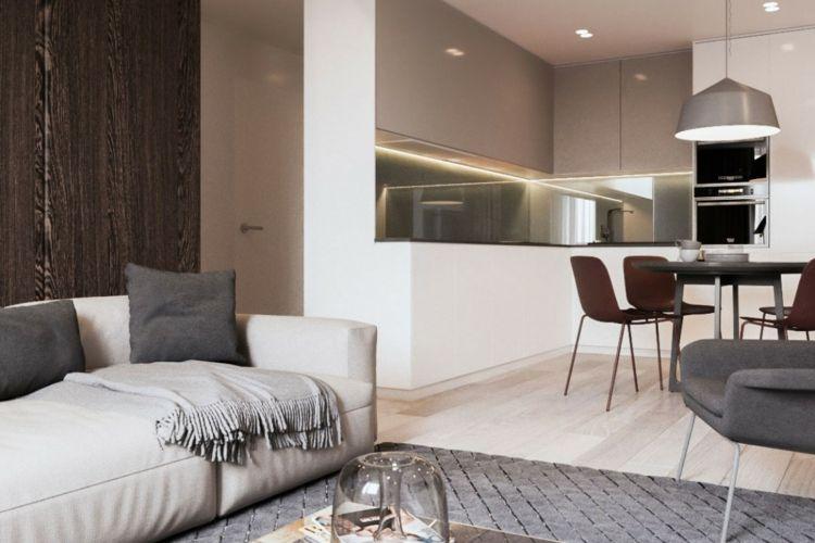 Dunkle Wandverkleidung aus Holz als minimalistischer Akzent - moderne wohnzimmer beleuchtung