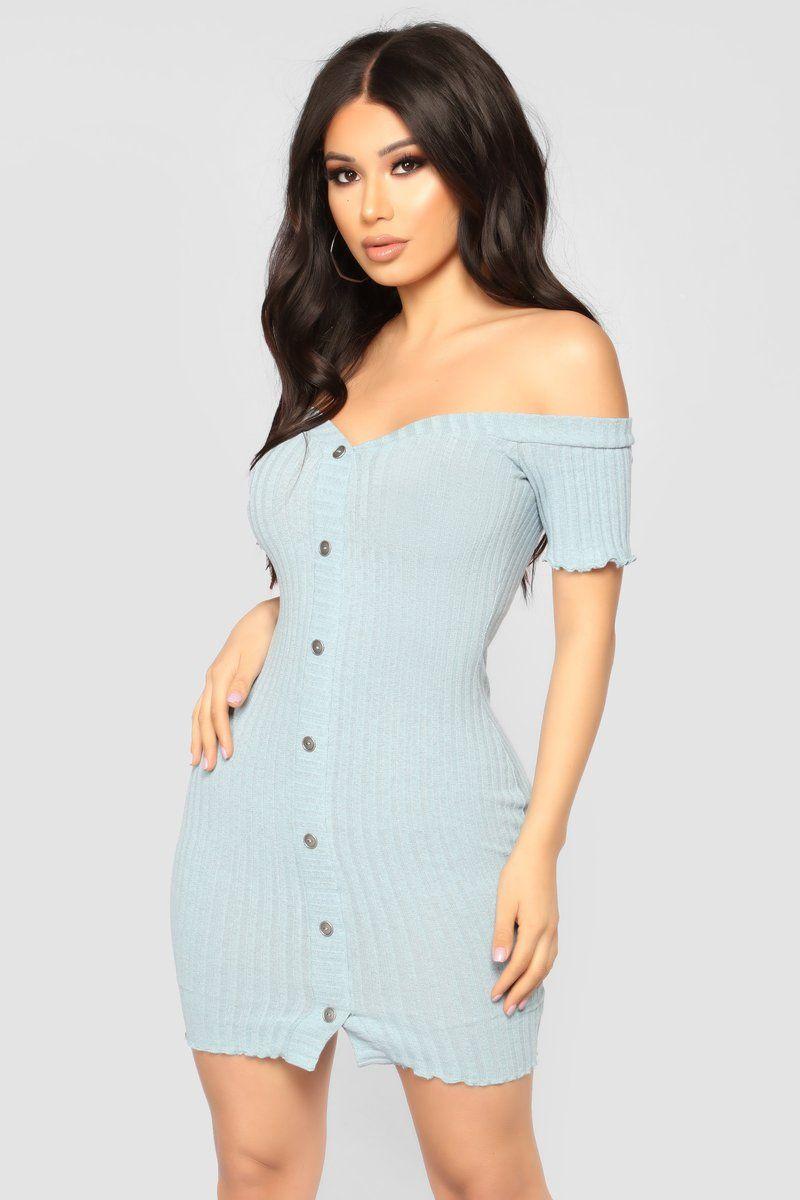 Jaslyn Off Shoulder Dress Light Blue Fashion nova