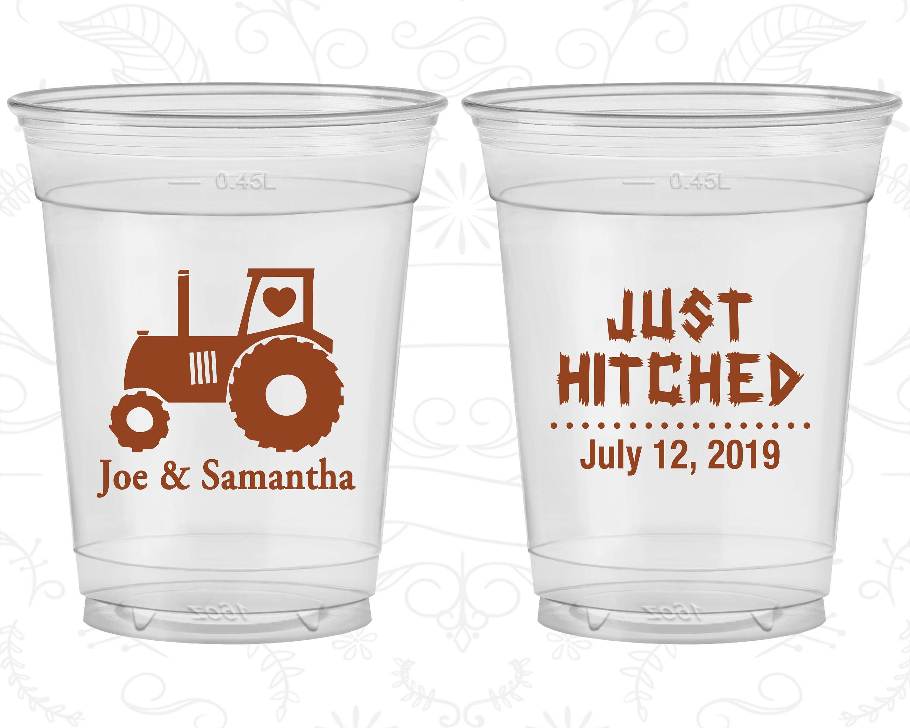 Just Hitched, Wedding Favor Soft Plastic Cups, Tractor, Country ...