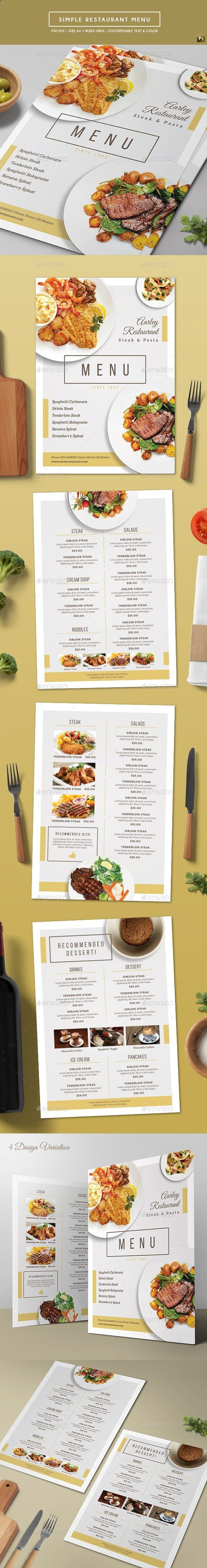 Simple Restaurant Menu Design Template  Food Menus Print Template