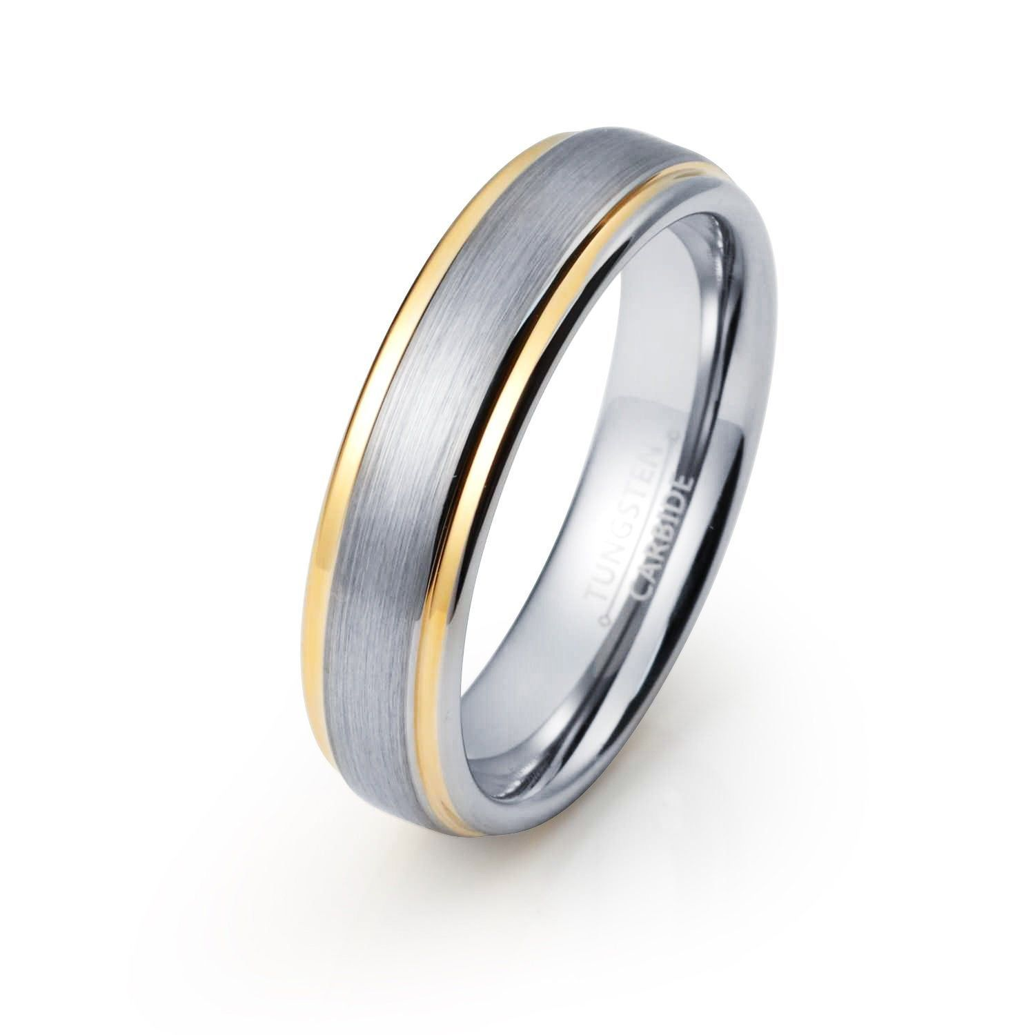 Yellow Gold Wedding Band Brushed Silver Tungsten Ring Mens Etsy In 2020 Tungsten Wedding Bands Yellow Gold Wedding Band Mens Wedding Bands Tungsten