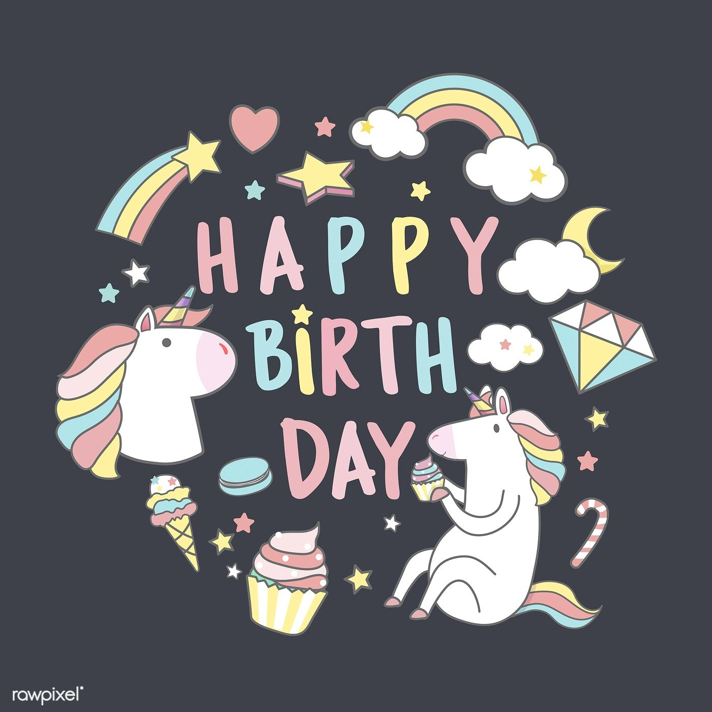 Happy birthday unicorn with magic elements card vector