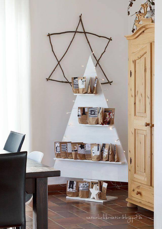 Tannenbaum Adventskalender Holz.Adventskalender Natürlich Kreativ Christmas Decoration