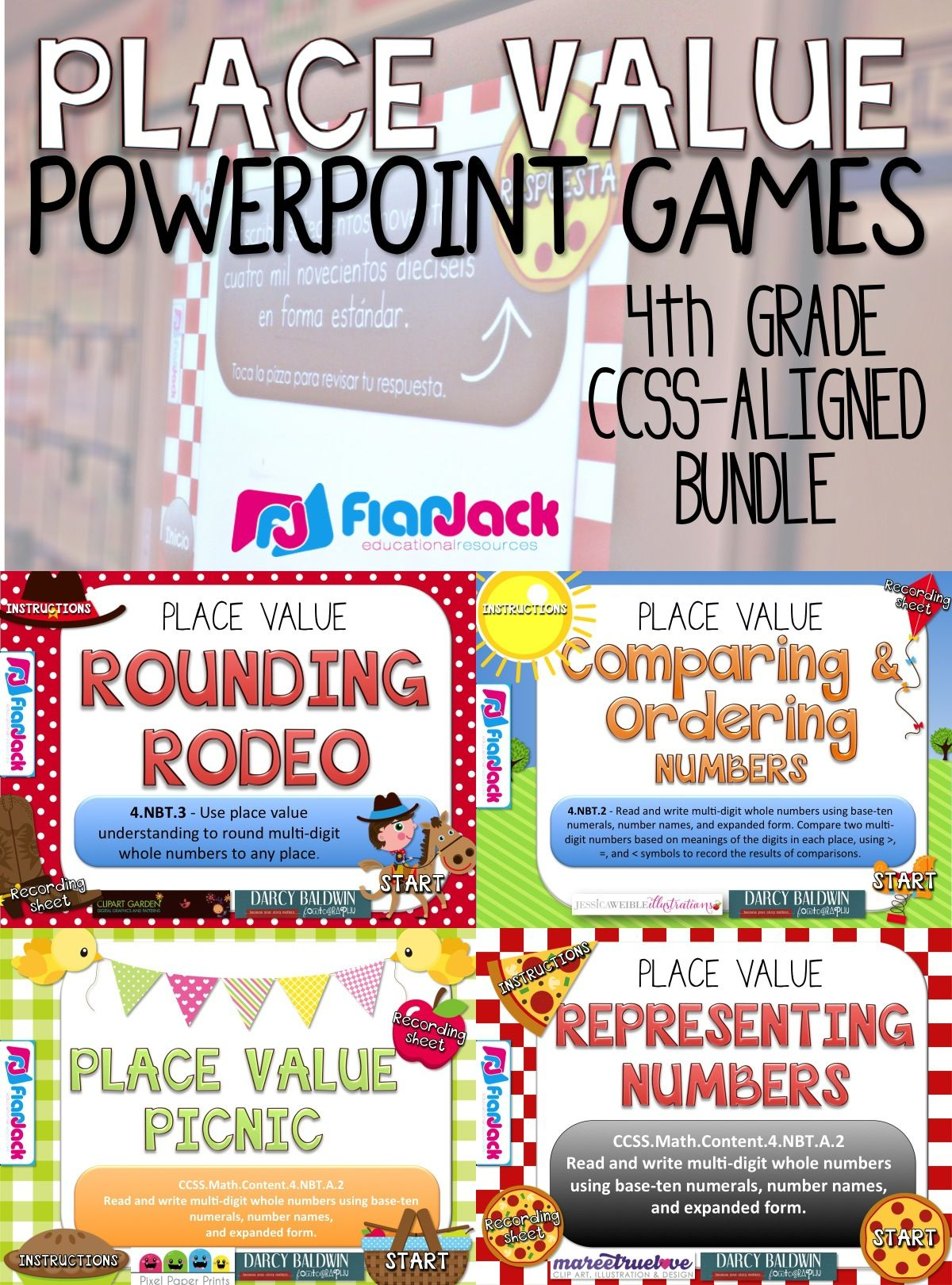 4th grade place value powerpoint games bundle this bundle contains 4 ccss aligned powerpoint games that will motivate your students to practice place  [ 1200 x 1620 Pixel ]