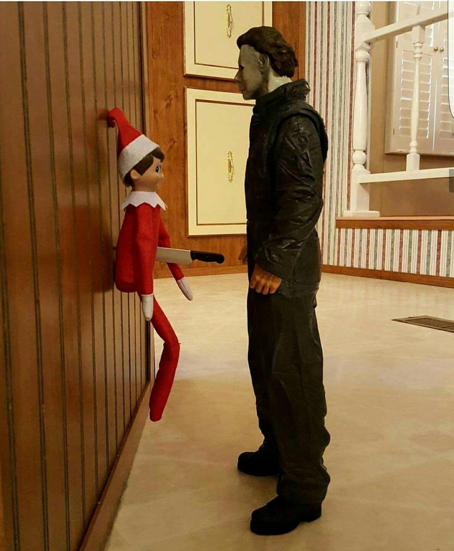 Elf vs Michael Myers, guess who wins? Halloween memes