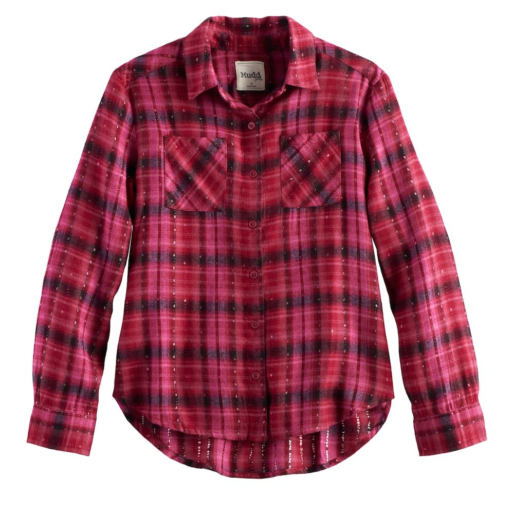 Flannel shirts at kohl's  Mudd Girls  u Plus Size Metallic Plaid ButtonFront Flannel