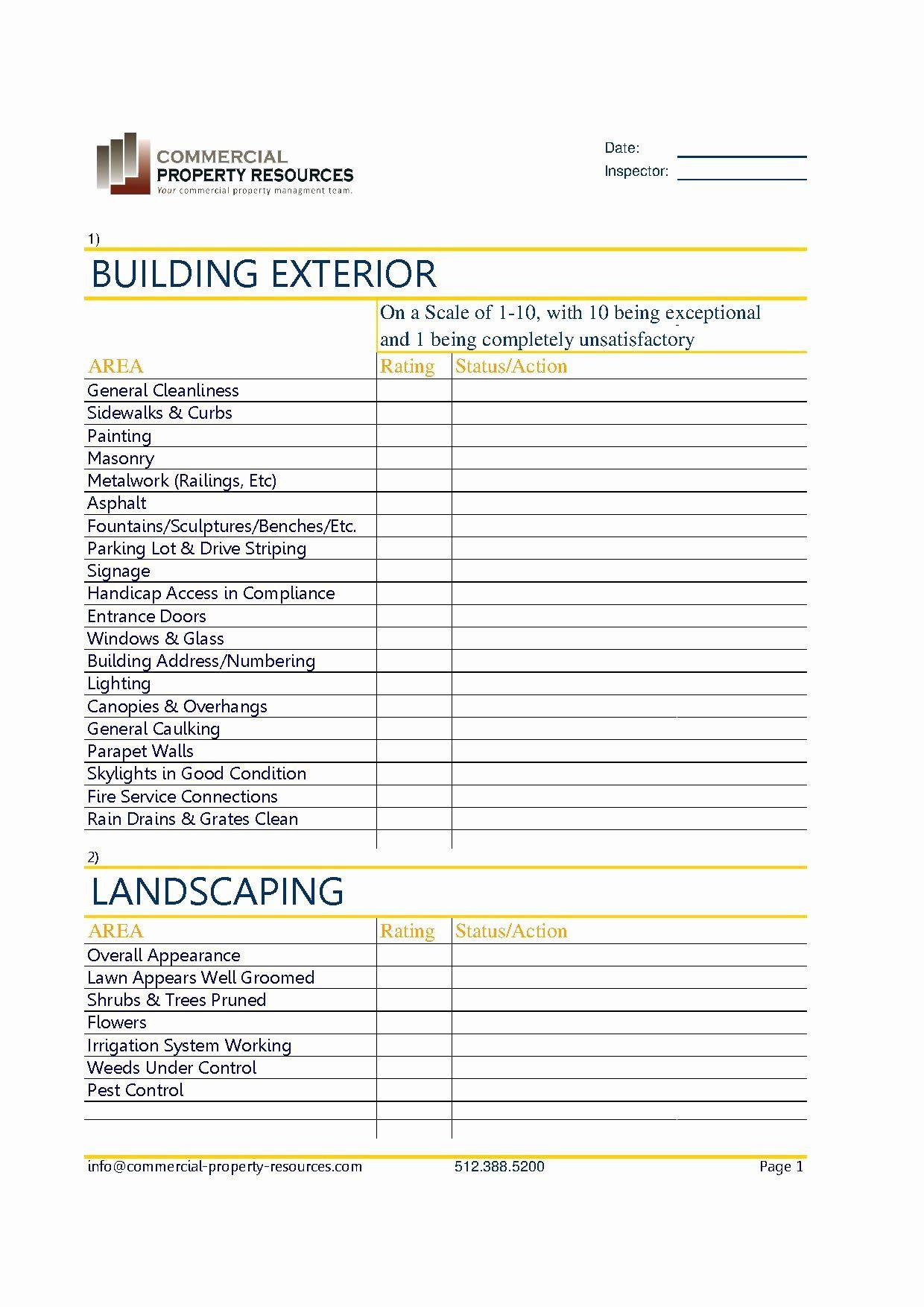 Property Management Maintenance Checklist Template Elegant