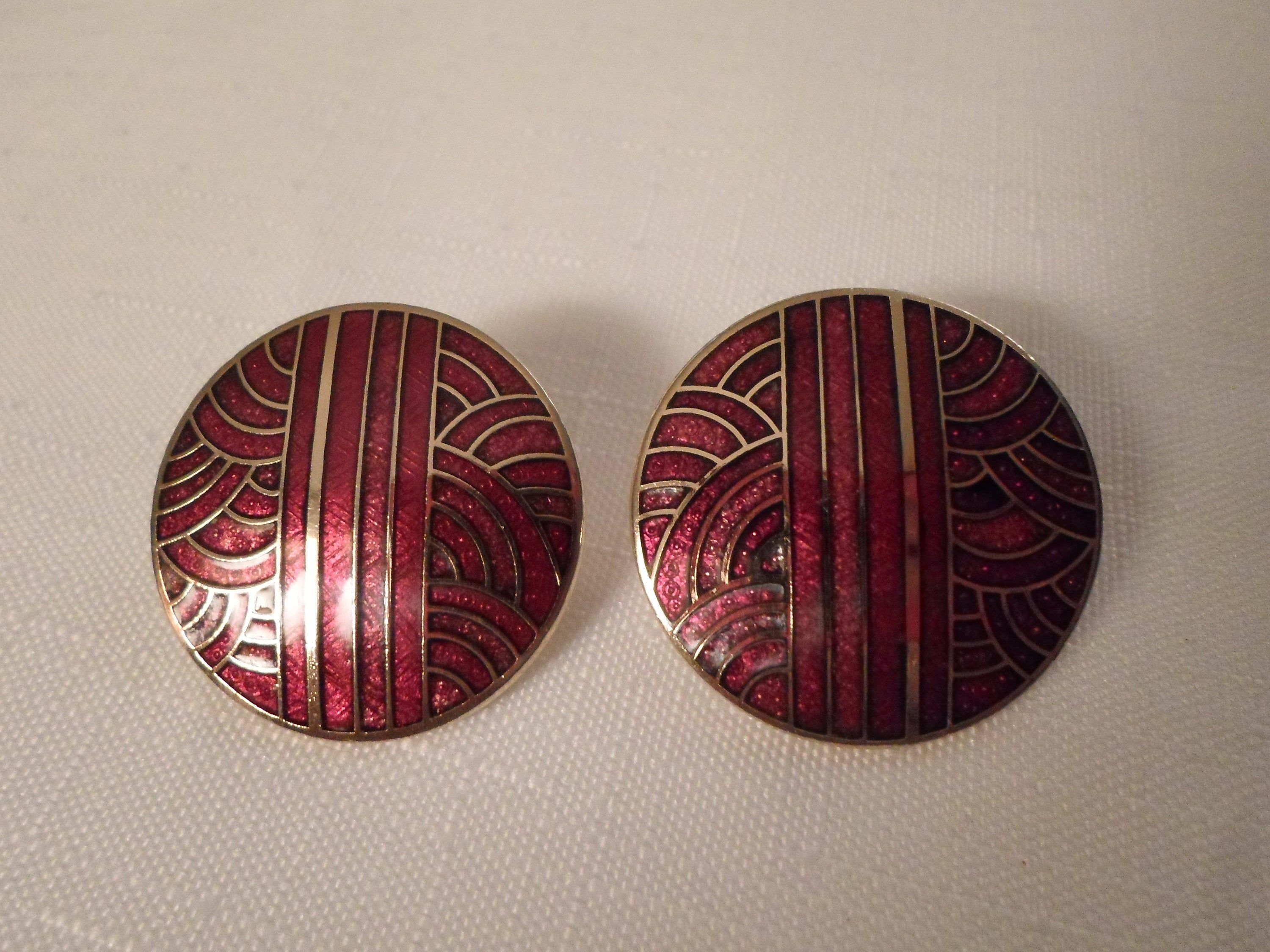 Designer Cloisonne Earrings Signed Siti Red Gold Enamel Art Deco Asian Oriental Japanese Vin Cloisonne Jewelry Cloisonne Earrings Hip Jewelry