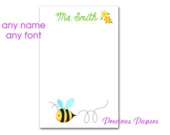 personalized bumble bee notepads personalized teacher gift