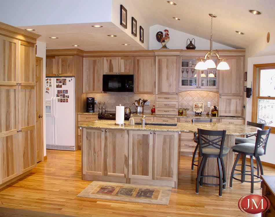 custom kitchen natural pecan wood cabinets hardwood floors and eating space kitchen ideas. Black Bedroom Furniture Sets. Home Design Ideas