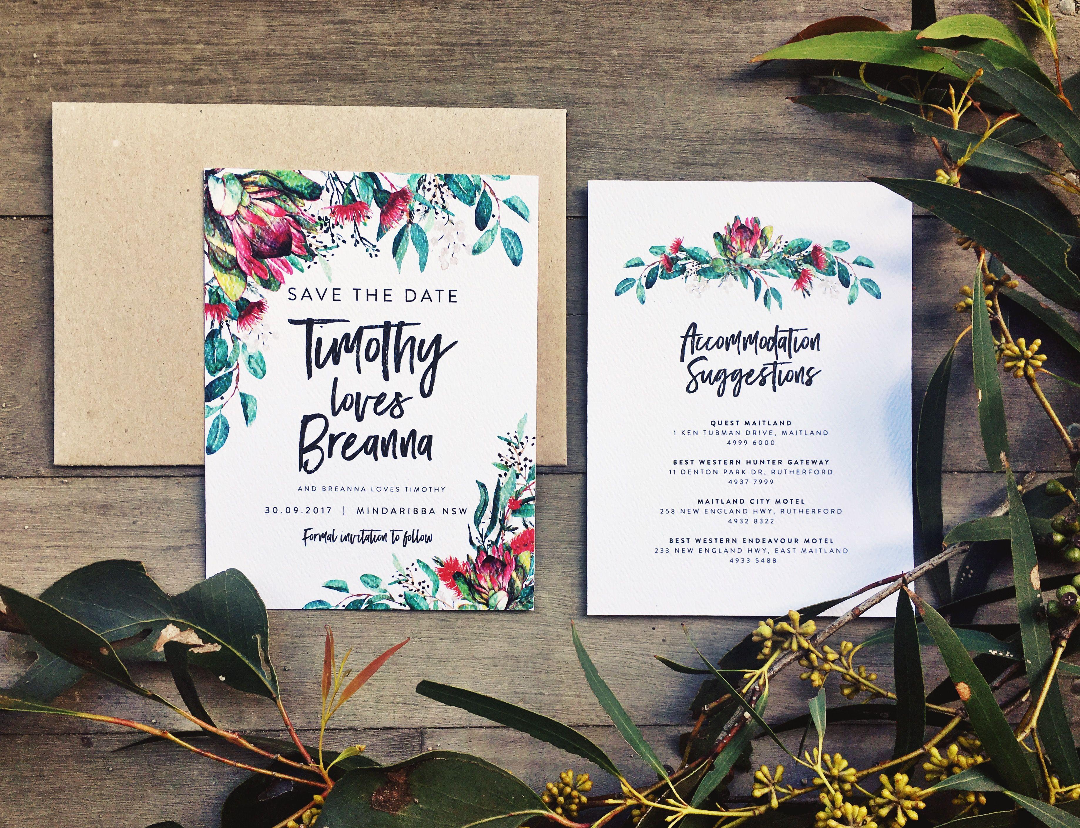 Invitation Ideas Protea Wedding Australia