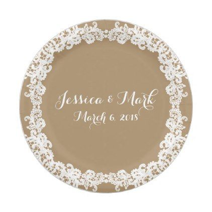 Elegant burlap brown/tan \u0026 white lace design paper plate - wedding decor marriage design  sc 1 st  Pinterest : burlap and lace paper plates - pezcame.com