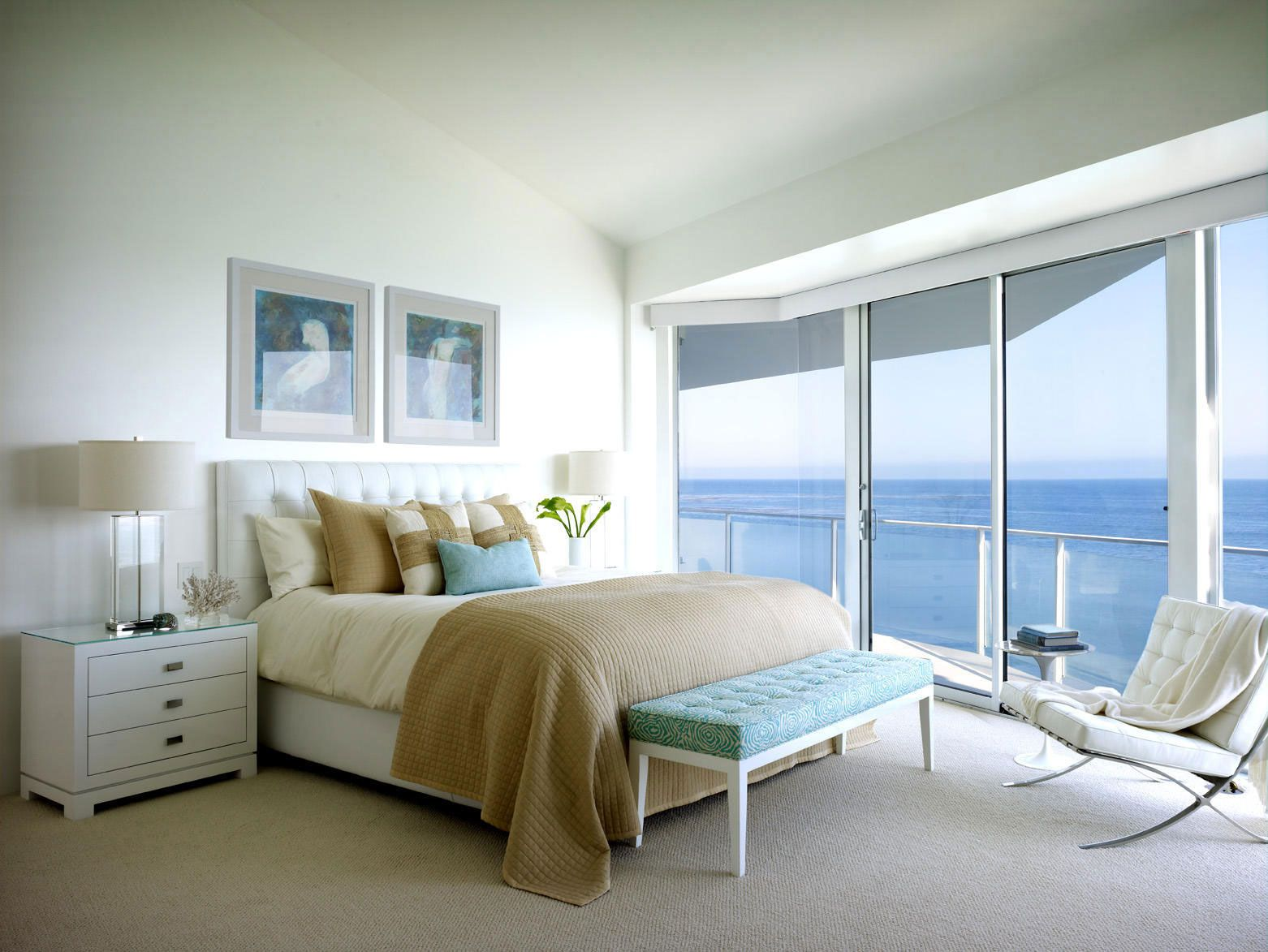 beach house bedrooms. barcelona chair bedroom by Jamie Bush white Malibu beach house Beach House  Architecture and Interior