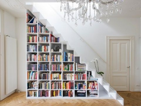 Elegant Decor:Under The Stairs Bookcase Mini Library Big Chandeliers Unique Books  Decoration Amazing Functionality Of The Small Space Under The Stairs