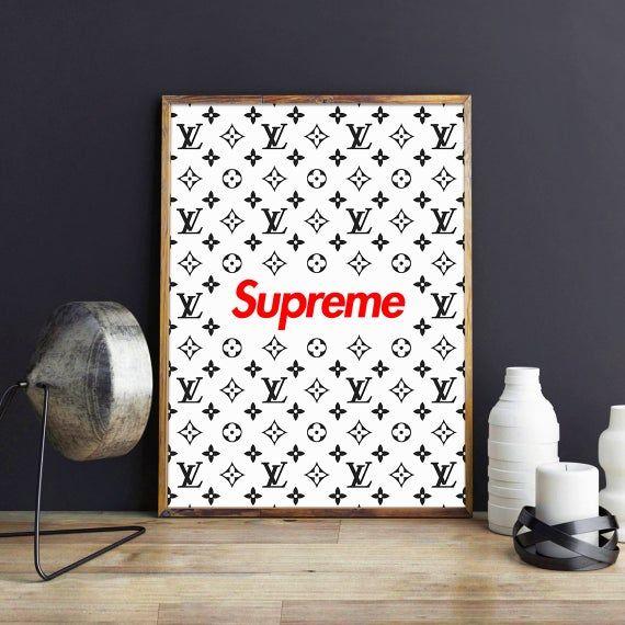 Supreme Lv Print Supreme Louis Vuitton Poster Supreme Art Supreme Poster Louis Vuitton Print Supreme Party Lv In Gamer Room Decor Supreme Art Cute Room Decor