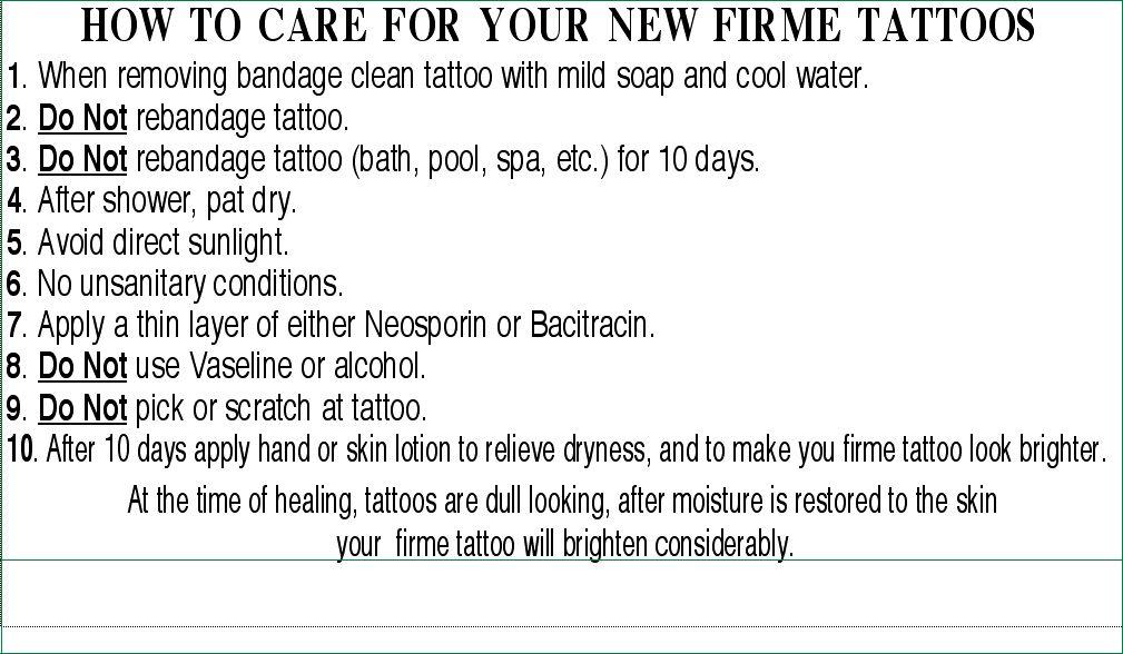 Tattoo Care Instructions Tattoo care instructions