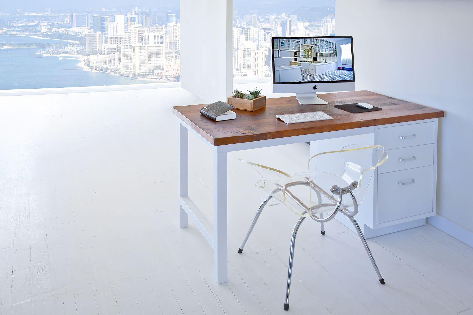 white metal desk with vintage wood top ying yang white heavy gauge welded metal desk with. Black Bedroom Furniture Sets. Home Design Ideas