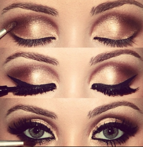 smokey eye makeup with gold eyeshadow | Glorious Gold | Pinterest ...