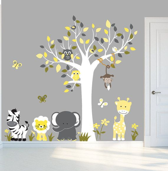 Peel and stick decal, yellow and grey nursery, wall decals, tree ...