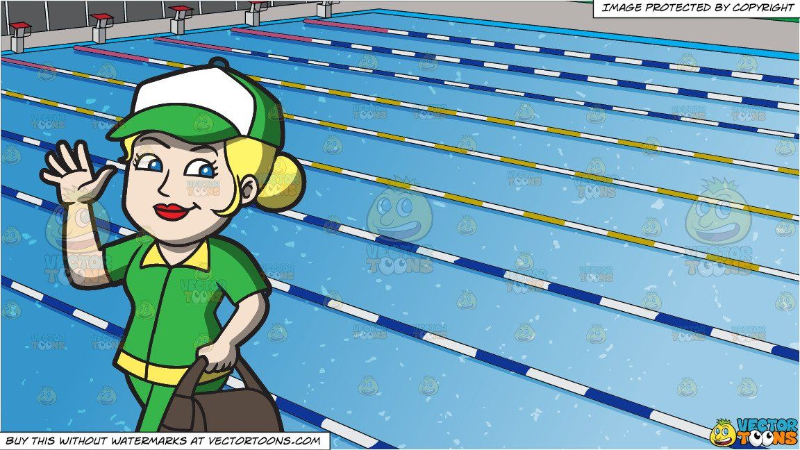 Clipart Cartoon A Happy Female Delivery Person And Outdoor Competition Swimming Pool Background