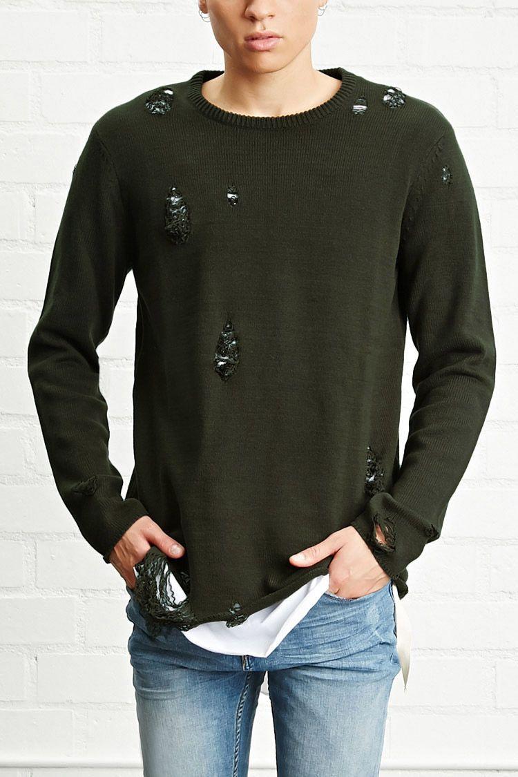 Mens Knitted Designer Long Sleeve Crew Neck Ribbed Front Pockets Sweater Jumper