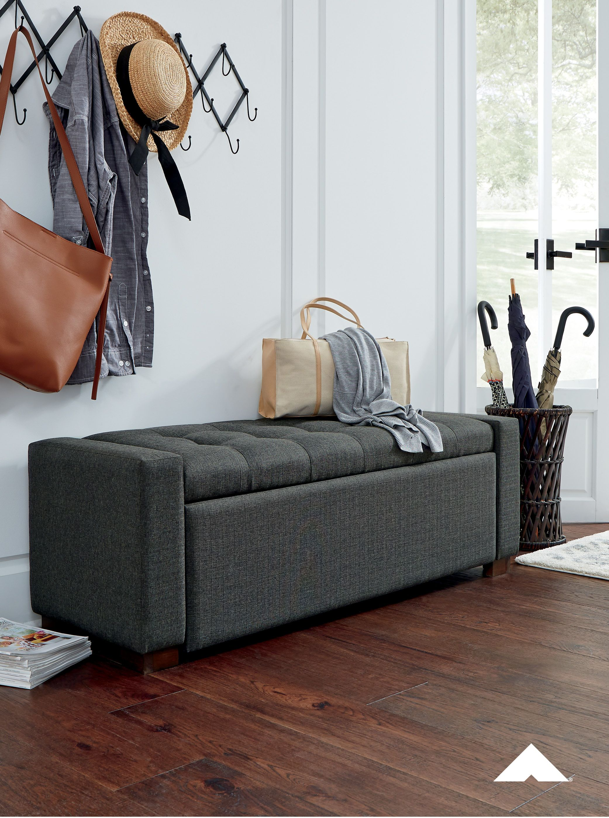 Cortwell Gray Storage Bench By Ashley Furniture Whether Gracing A Front Entry Or Living Room In 2020 Upholstered Storage Bench Upholstered Storage Grey Storage Bench