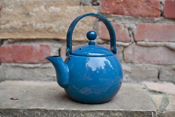Cobalt Blue Vintage Enamel Tea Kettle Tea by sleepyhollowgeneral. $32.00, via Etsy.